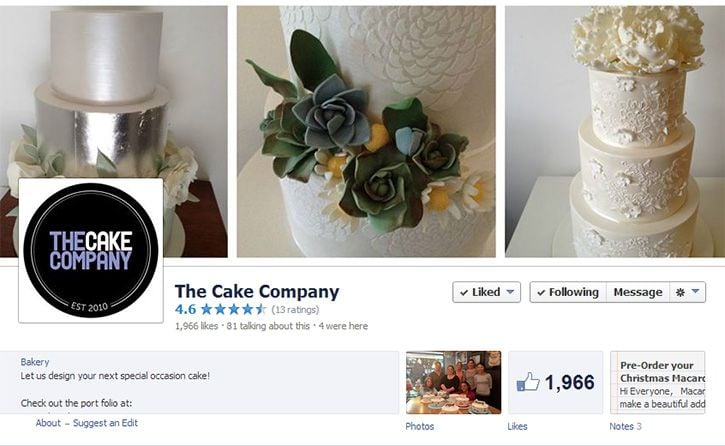 the cake company facebook profile design