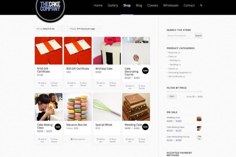 The Cake Company Product Selection Page