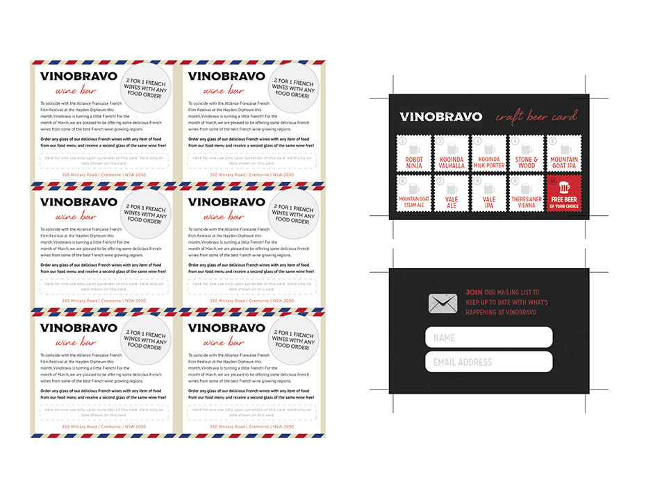 Vino bravo table cards northern beaches websites business cards reheart