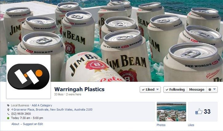 warringah plastics facebook design and content deployment