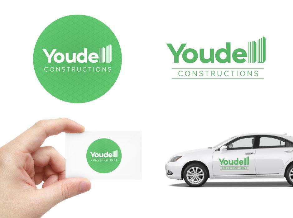 green construction logo clean design