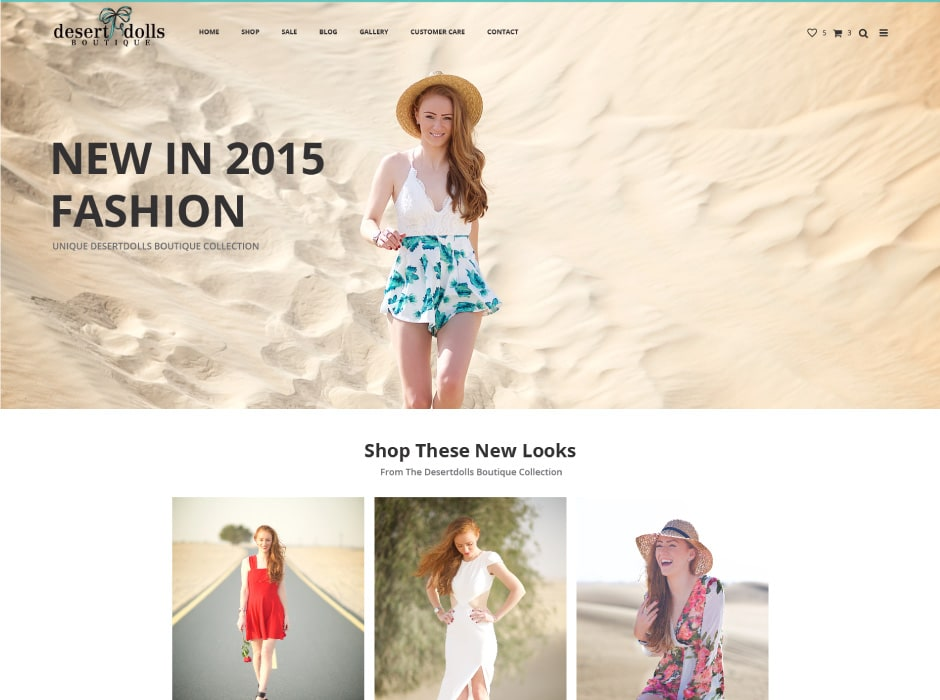 Desert Dolls Boutique Website Concept 2