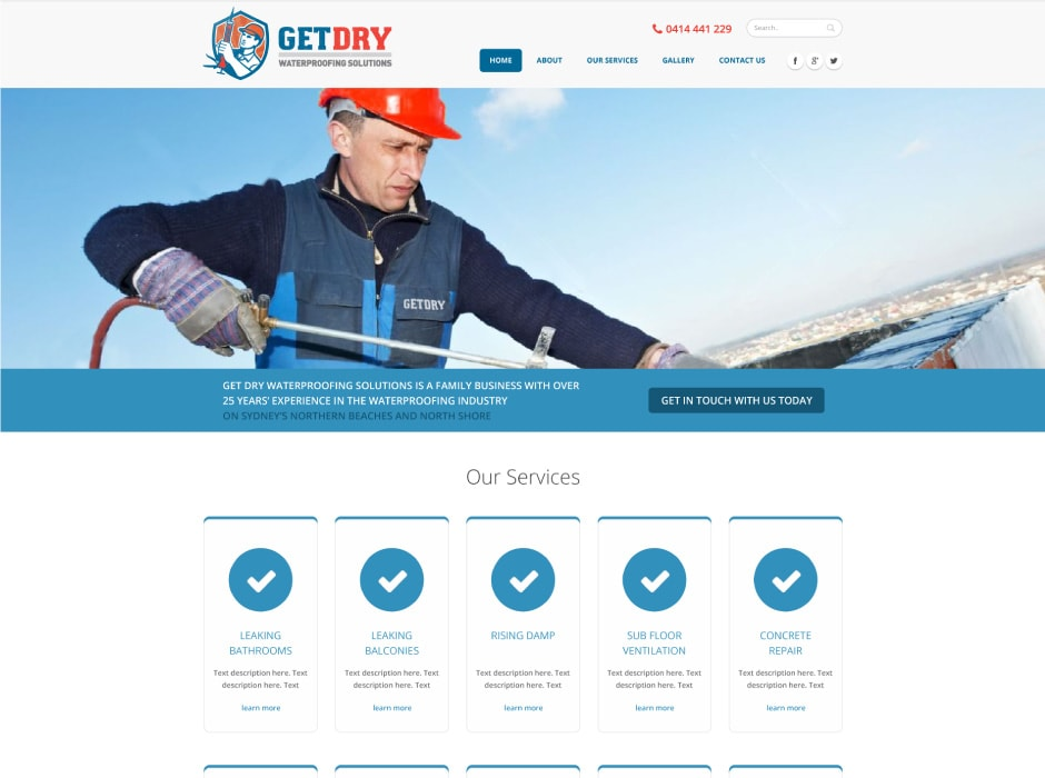 GetDry Website Concept