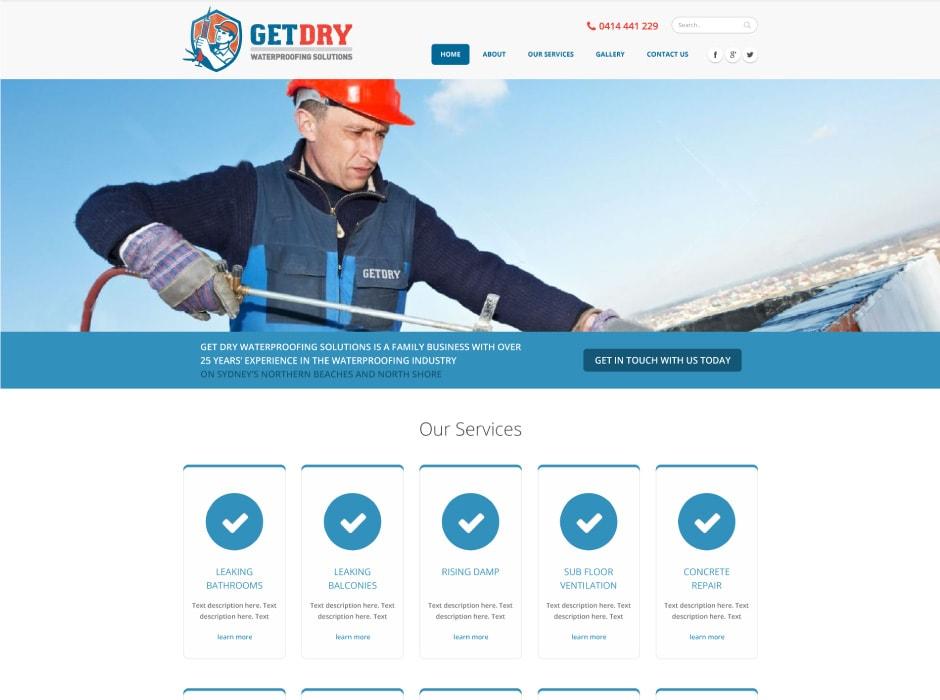 GetDry Website Concept