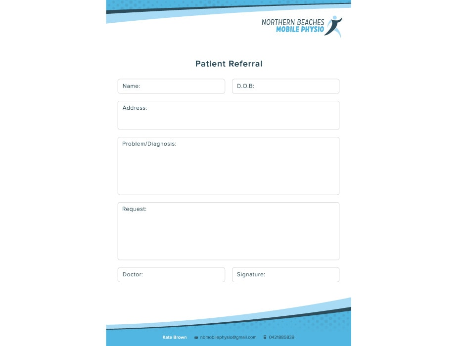 Northern Beaches Mobile Physio Referral Card Concept