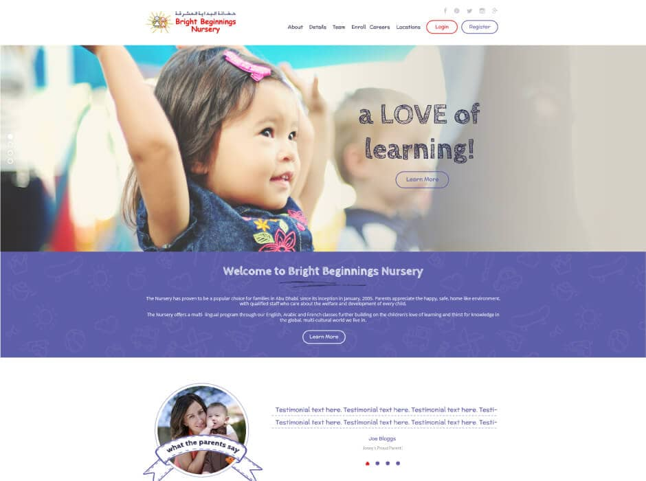 Bright Beginnings Nursery Website Design2