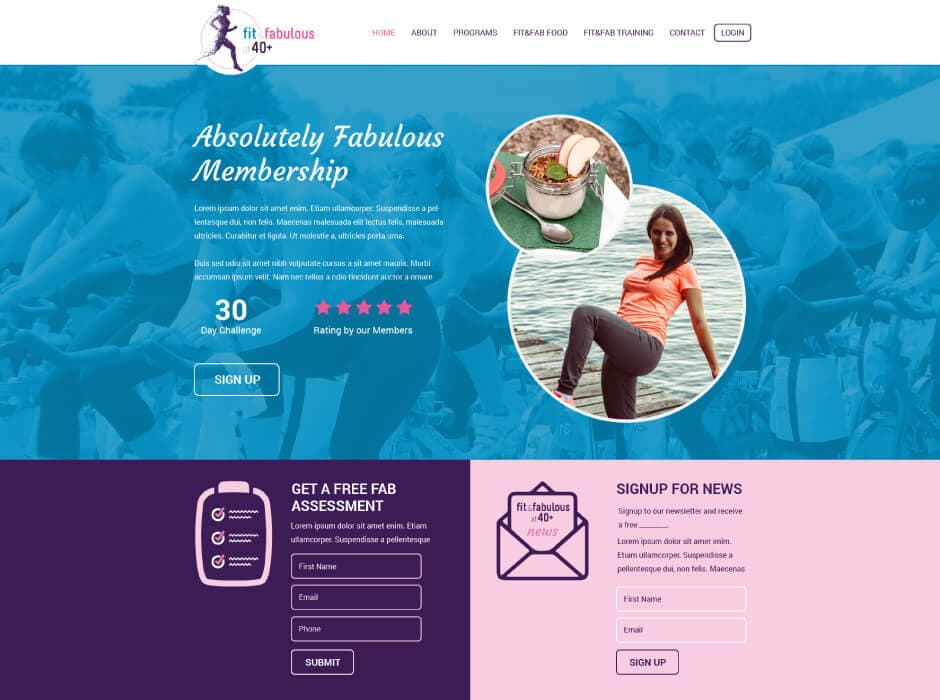 Fit & Fabulous at 40 Plus Website Design