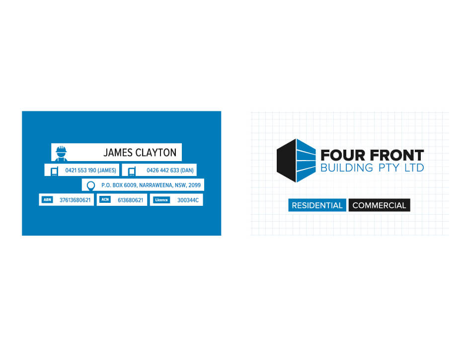 Northern Beaches Websites | Four Front Building Business Card Design