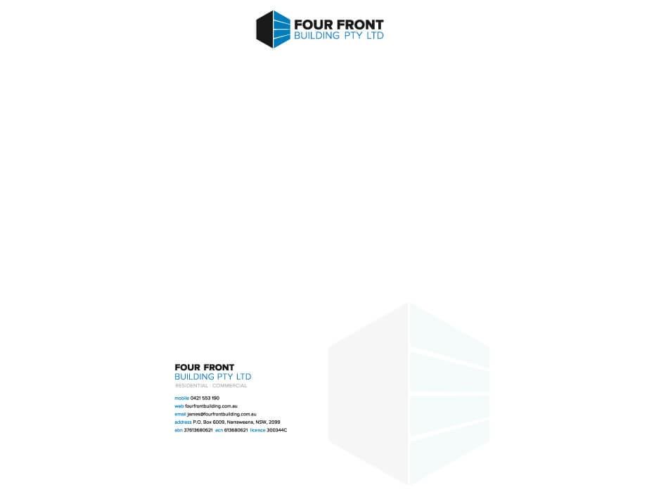 Four Front Building Letterhead Design
