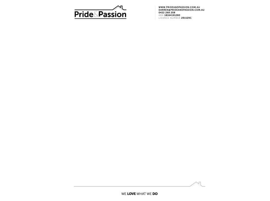 Pride & Passion Letterhead Design