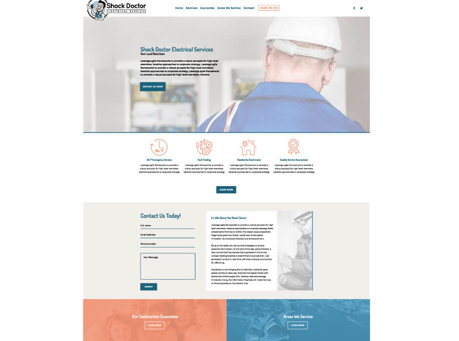 Shock Doctor Electrical Services Website Design