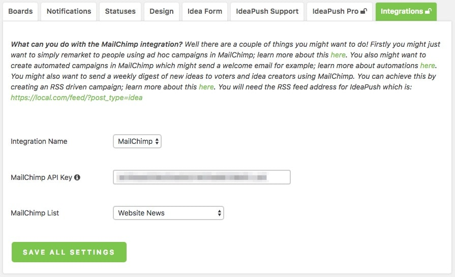ideapush mailchimp integration