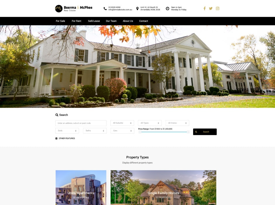 Boerma and McPhee Real Estate Website