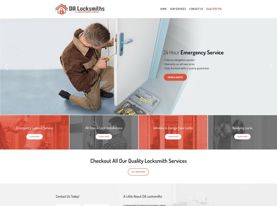 DA Locksmiths Website