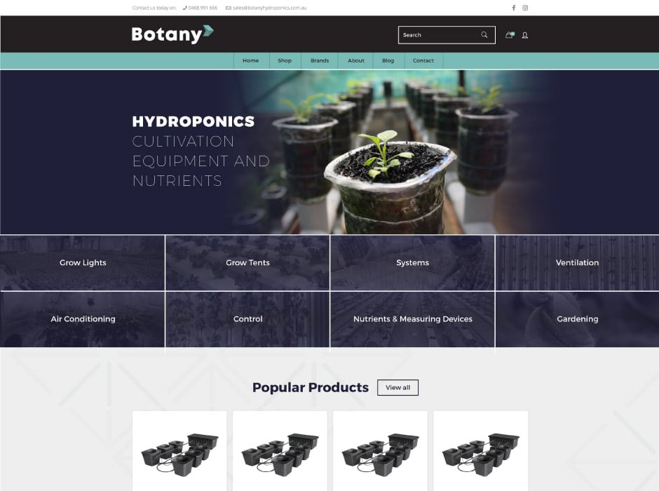 Botany Hydroponics Website