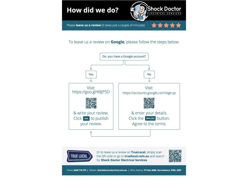 Shock Doctor Electrical Services Review Flyer