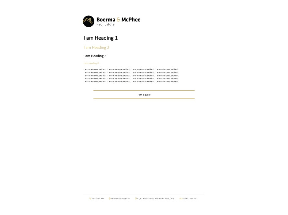 Boerma and McPhee Real Estate Letterhead