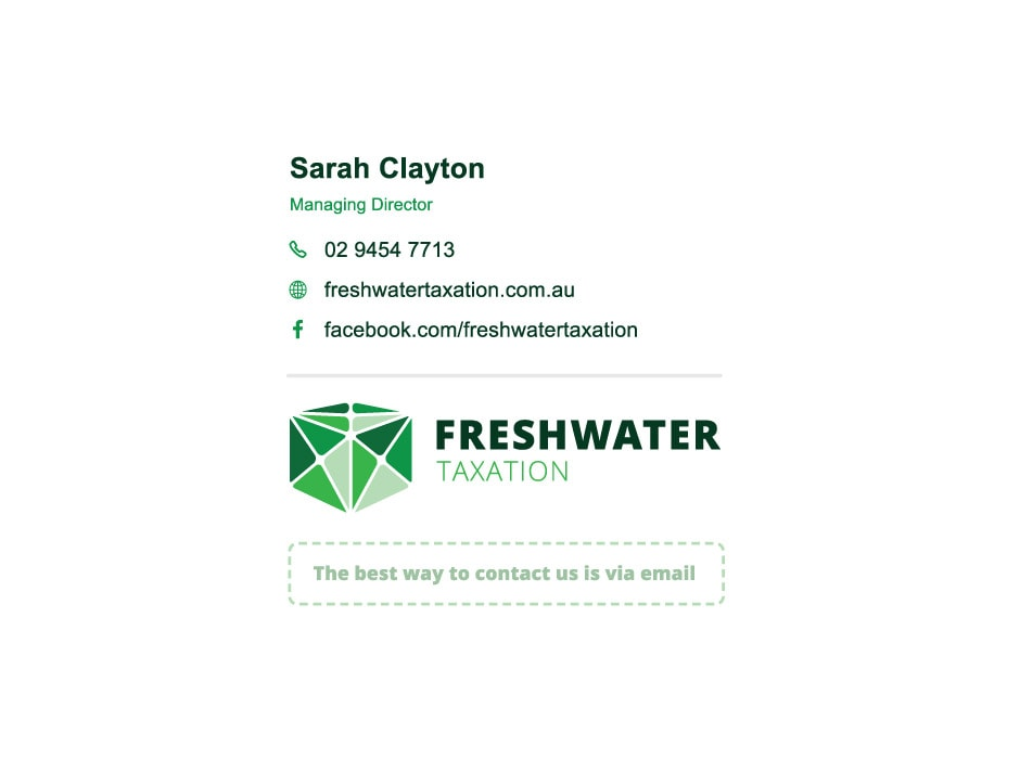 Freshwater Taxation Email Signature