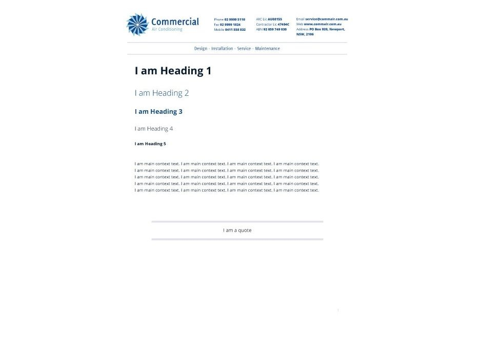 Commercial Air Conditioning Letterhead