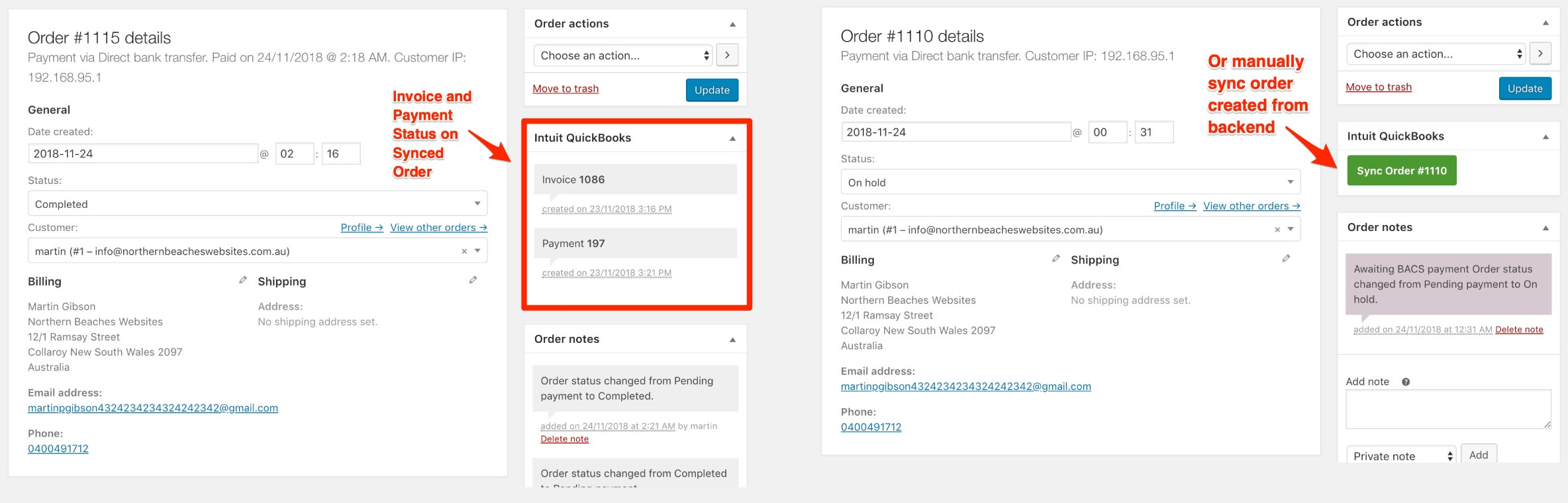 WooCommerce to Intuit QuickBooks Order Page Functions