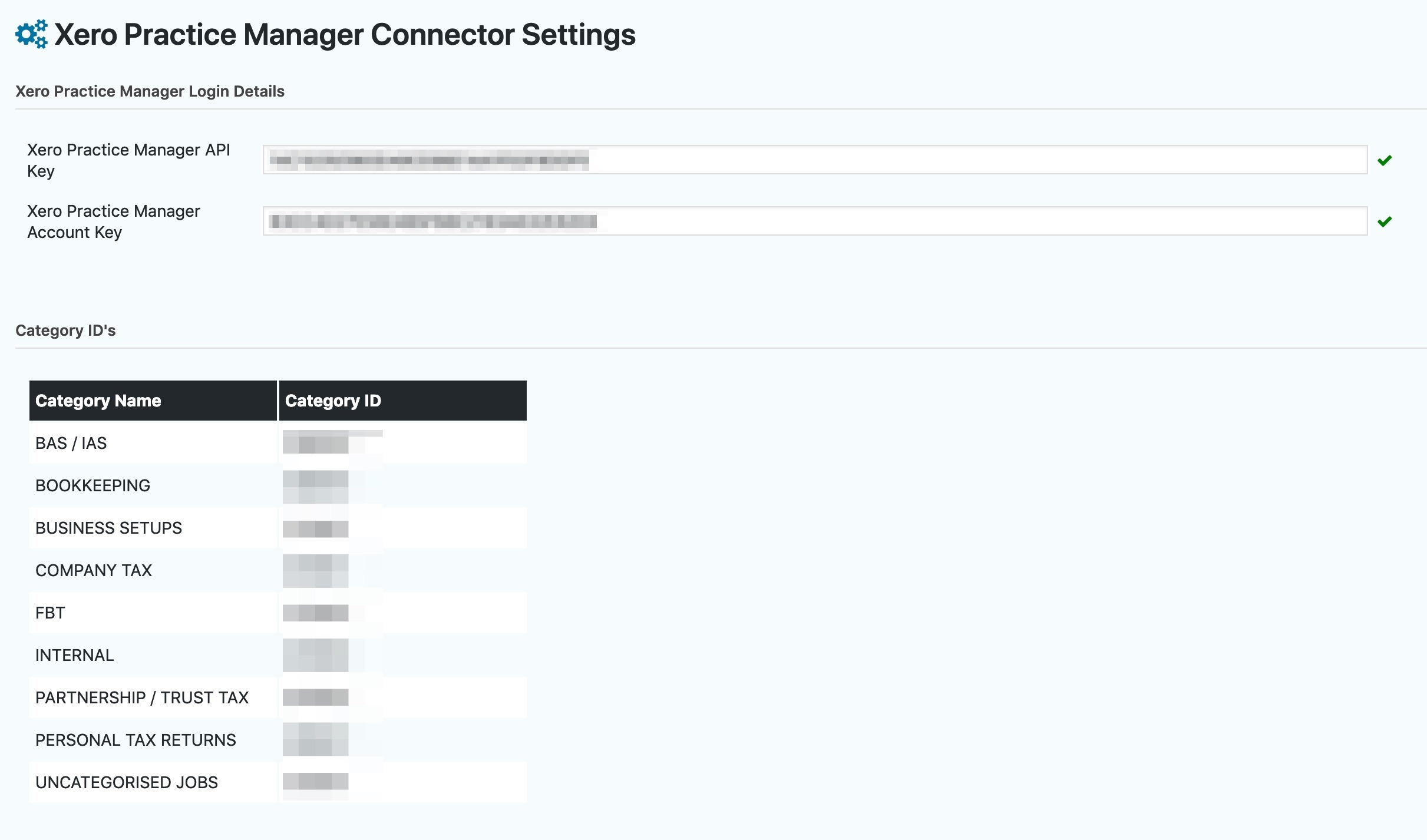 settings xero practice manager