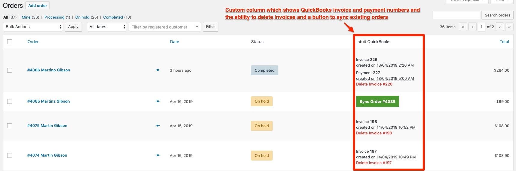 woocommerce to intuit quickbooks custom column