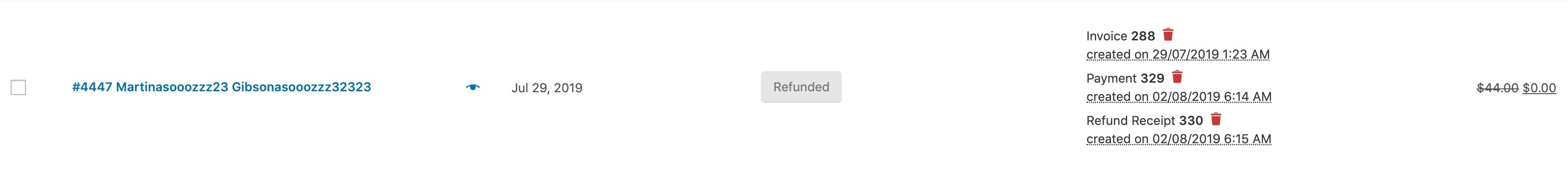 refund receipts