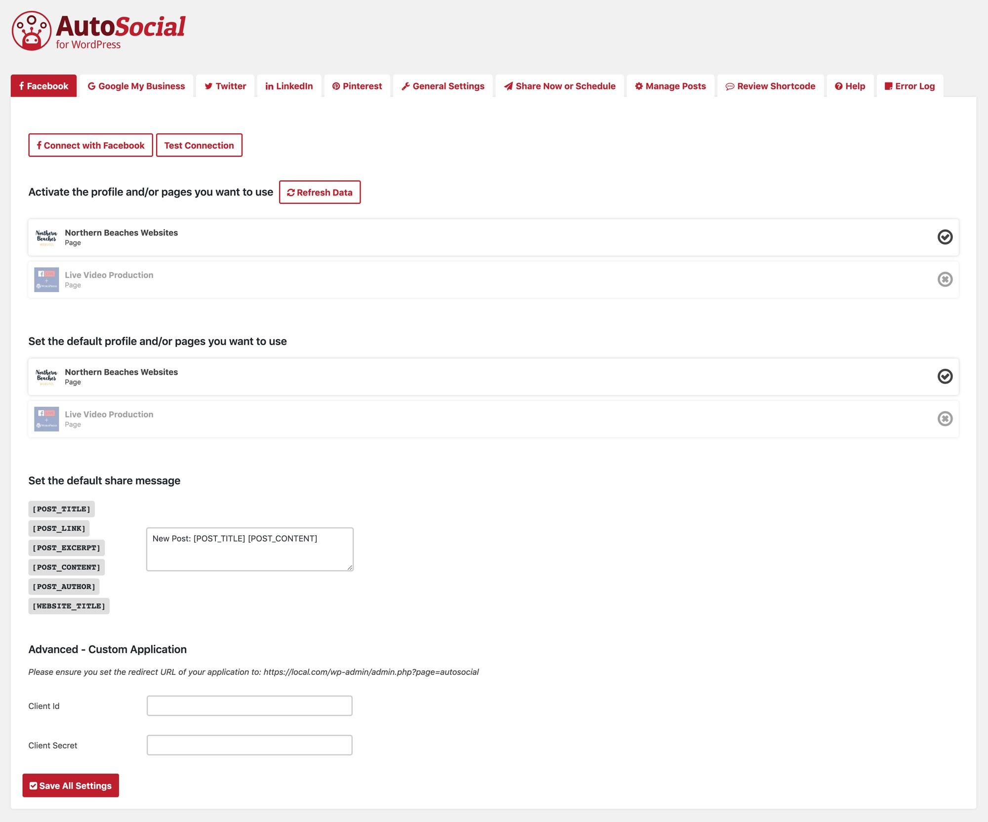 AutoSocial main interface