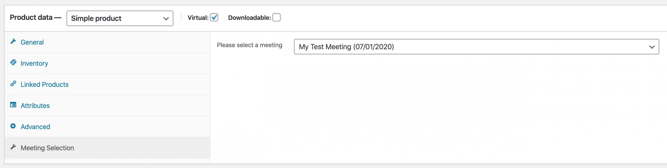 wp gotomeeting pro product settings - meeting selection