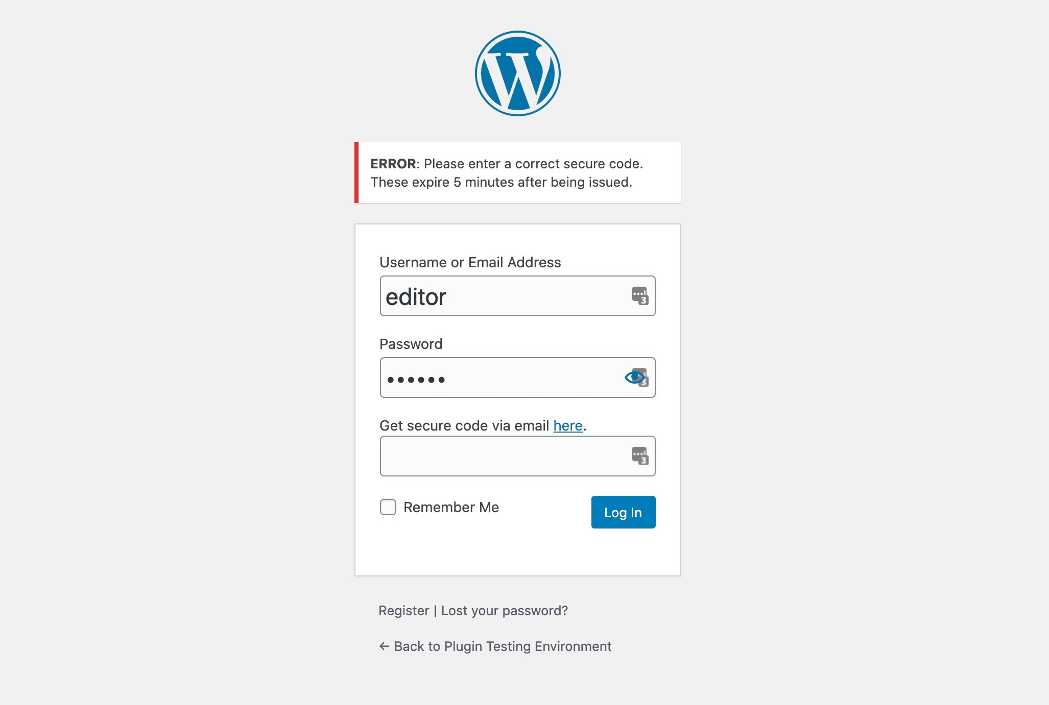 Email 2 Factor Authentication WordPress Login Form